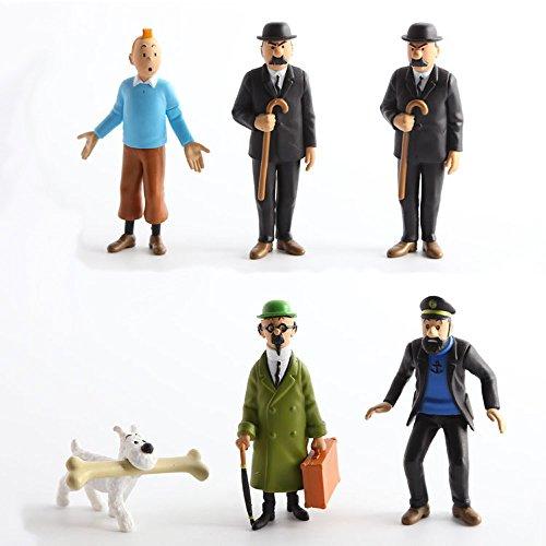 "The Adventures of Tintin 6 x 3"" Figure Set Tin Tin Captain Handdock Calculus Thomson Snowy"
