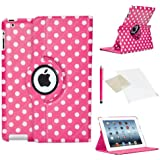 Deep Pink & White Polka dot Case for Apple iPad Mini / Mini 2 / PU Leather with 360 Degree Rotating Swivel Action for Portrait and Landscape Display by PulseTec Accessories / Free Screen Protector and Stylus Touch Pen