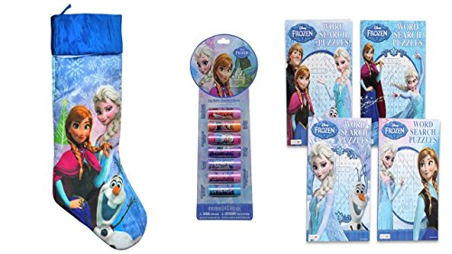 "Disney Frozen Elsa, Anna & Olaf 20"" Silky Satin Christmas Stocking with 7 Piece Lip Balm & Frozen Word Search"
