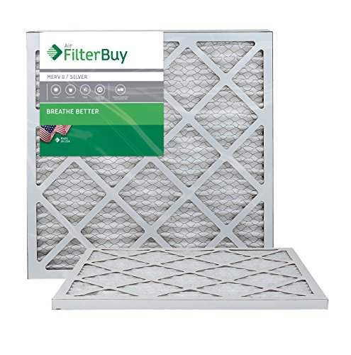 AFB Silver MERV 8 18x22x1 Pleated AC Furnace Air Filter. Pack of 2 Filters. 100% produced in the USA.