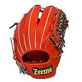 Zeems(ジームス) 三方親 内野手用 大 右投げ用 グラブ グローブ 一般 軟式用 Rオレンジ/ブラック