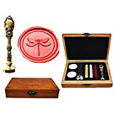 MNYR Dragonfly Luxury Wood Box Bronze Metal Peacock Wedding Invitations Gift Cards Paper Stationary Envelope Seals Custom Logo Wax Seal Sealing Stamp Wax Sticks Melting Spoon Wood Gift Box Kit (Color: Bronze)