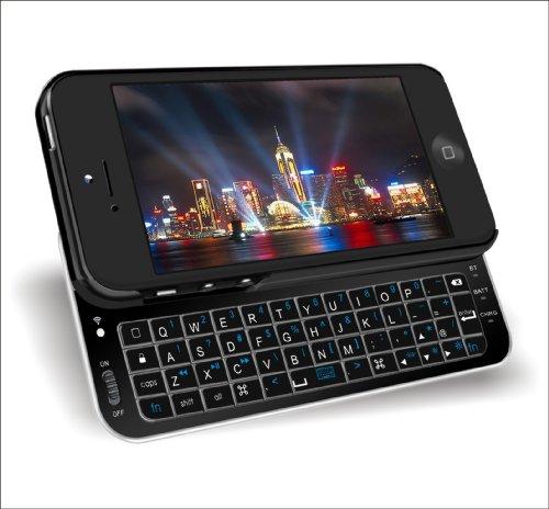 iPhone5専用スライドケース式、iPhone5にジャストフィット iPhone5用 Bluetooth3.0 バックライト付きスライドキーボードiPhone5対応 VM-BSK5-BK ブラック
