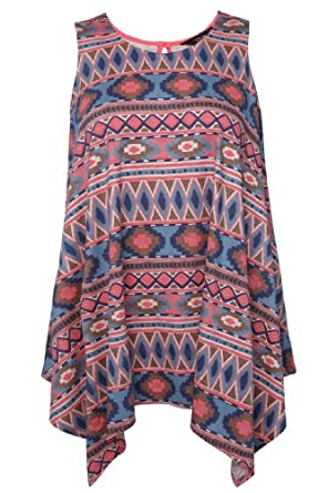 Yoursclothing Ladies Plus Size Coral And Blue Aztec Oversized Sleeveless Asymmet by YoursClothing