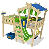 WICKEY Kinderbett CrAzY Hutty Hochbett Abenteuerbett -Blau-Apfelgrün
