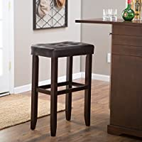 Finley Home Palazzo Faux Leather 32 In. Extra Tall Saddle Seat Barstool (Brown)