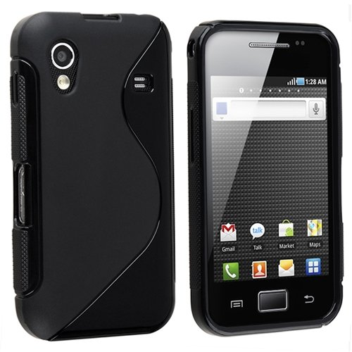 TPU Rubber Skin Case for Samsung Galaxy Ace GT-S5830, Frost Black S Shape