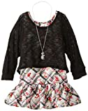 Beautees Big Girls Printed Top with Popover Sweater