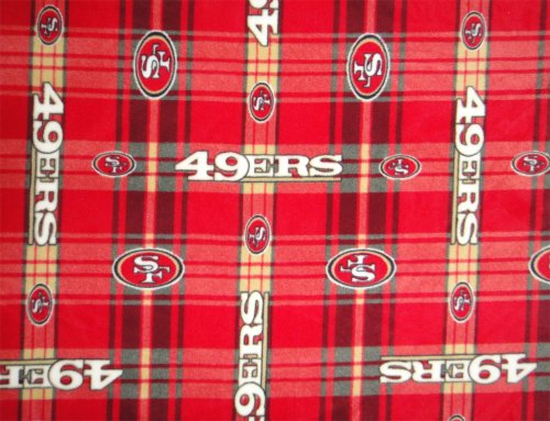 San Francisco 49ers NFL Licensed Plaid Fleece Fabric 60″ Inches Wide-By The Yard