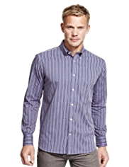 Blue Harbour Pure Cotton Satin Striped Oxford Shirt