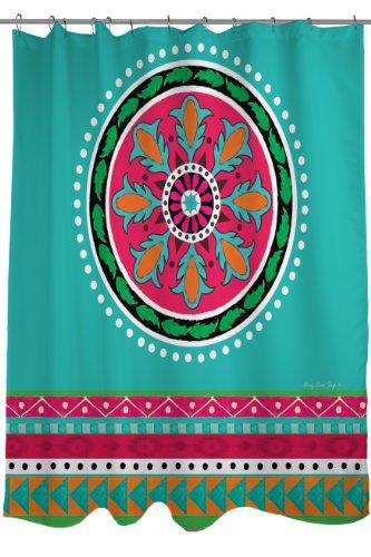 Thumbprintz Fabric Shower Curtain, Turquoise Boho Medallion Stripe front-483217