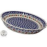 Classic Boleslawiec Pottery Hand Painted Ceramic Round Pie Dish 100-T-002
