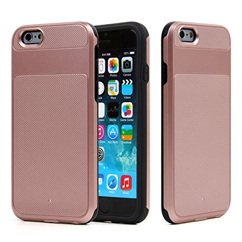 iPhone 6S Plus Case, 6 Plus Case, [5.5 Inch], HLCT Slim Fit, Anti Slip, Interior TPU Bumper & Hard PC Back Shock-Absorption Cover (Rose Gold) (Gold Vent Cover compare prices)