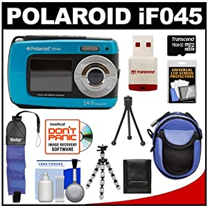 Polaroid iF045 14MP Waterproof Dual Screen Digital Camera (Blue) with 16GB Card & Reader + Case + Flex Tripod + Floating Foam Strap + Accessory Kit