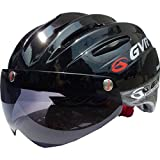 GVR シールド付き自転車ヘルメット(マグネット式取外し可能) G-203V SOLID ブラック