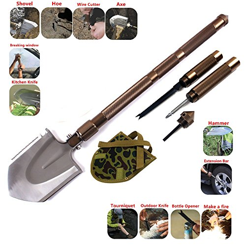 Ghaziman Outdoor Survival Steel Spade Mini Tactical Entrenching Tool,Multi-function Military Portable Camping Shovel--Shovels, axes, knives, saws, harpoons, poker, hammer, screwdriver