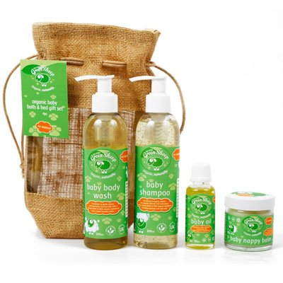 The Little Green Sheep Organic Baby Bath & Bed 4 Piece Gift Set