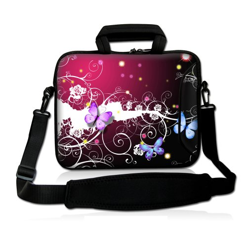 "17"" 17.3"" 17.4"" Inch Colorful Butterfly Neoprene Notebook Laptop Soft Bag Sleeve Case Cover Pouch With Adjustable Shoulder Strap For Apple Macbook Pro 17 /Hp Envy 17 Series/ Pavilion Dv7/Dv7T/G72/G72T/G7T/M7 Series / Dell Inspiron 17 17R I17Rm I17Rv Xps 1 front-180458"