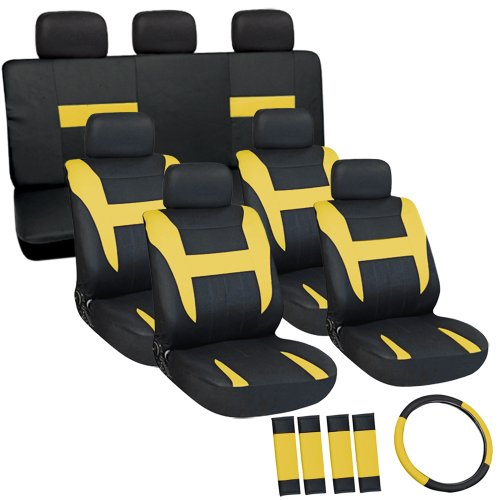 Oxgord Flat Cloth Seat Cover Set For Honda Suvs, Airbag Compatible, Split Bench, Yellow & Black front-836225