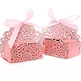 PONATIA 50pcs/Lot Laser Cut Pearl Paper Party 2 IN1 Rose Flower Wedding Favor Ribbon Candy Boxes Gift Box (Pink Rose) (Color: Pink( Rose))