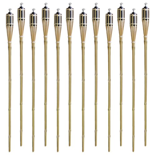 Set of 12 Bamboo Tiki-Style Torches - 48
