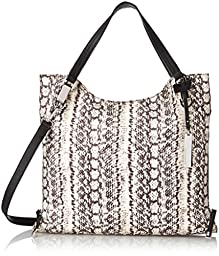 Vince Camuto Riley Nylon Travel Tote, Ivory/Black, One Size