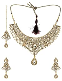 Bling N Beads Gold Coloured 18K Yellow Gold Plated Alloy Necklace, Earring & Maang Tikka Set For Women - B00WZFTBCQ