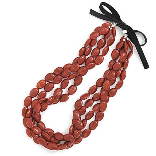 18 Inch 4 Strand Red Oval Sponge Coral Bead Necklace