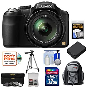 Panasonic Lumix DMC-FZ200 Digital Camera (Black) with 32GB Card + Backpack Case + Battery + 3 UV/CPL/ND8 Filters + Tripod + Accessory Kit