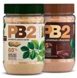 Lot of 2 Pb2 Regular & Chocolate Powdered Peanut Butter- 85% Less Fat and Calories - 6.5 Oz Each - 2 Pack