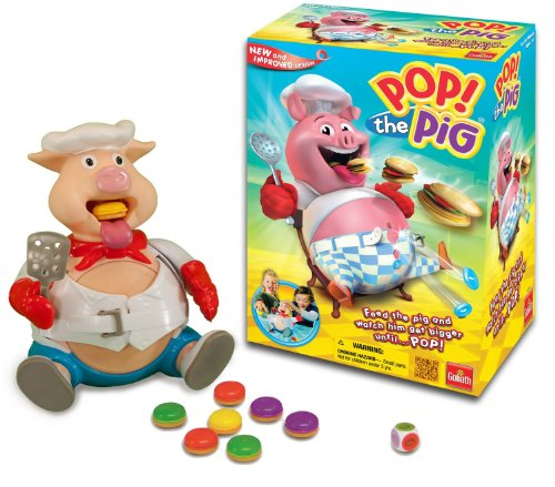 Pop the Pig Game - New and Improved - Belly-Busting Fun as You Feed Him Burgers and Watch His Belly Grow (Neds Head compare prices)