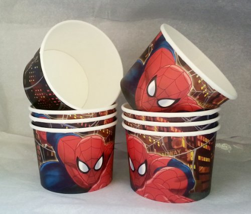 Marvel Ultimate Spider-Man Birthday Party - Snack Cups - Mini Popcorn Box - Set of 8