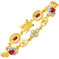 2 3/8 ct Ruby Tennis Bracelet with Diamond