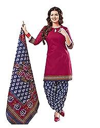 Nikki Fab Pink Cotton Unstitched Dress Materials