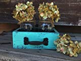 Wood DRAWER with 2 Canning Mason Jars Centerpiece Blue Mint Caribbean