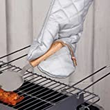Grillhandschuh Baumwolle doppelseitig hitzebeständig, Grill Kamin Ofen Handschuh (LHS)