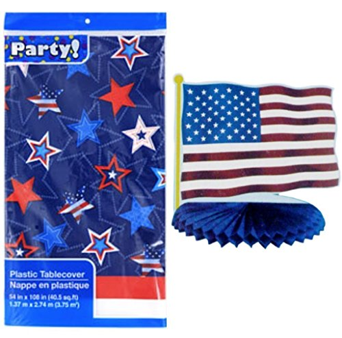 Patriotic Plastic Table Cover with Flag Centerpiece