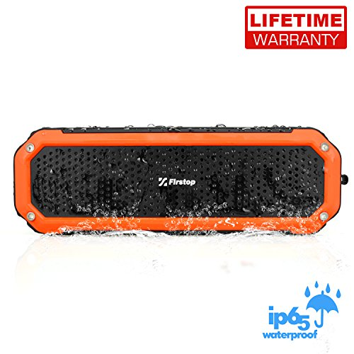 Firstop Waterproof Speakers, Portable Bluetooth V4.1 Speakers, Wireless Bluetooth Speaker with 2×5W Drivers, 12 Hour Playtime &Flashlight for Outdoor Sports, Build-in Mic/AUX Input (Small Car Door Speakers compare prices)