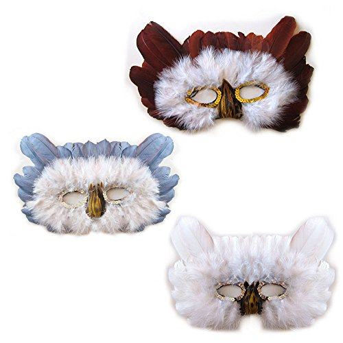 SACAS Brown White Grey Feather Owl Costume Mask Halloween ( 3 colors to pick )