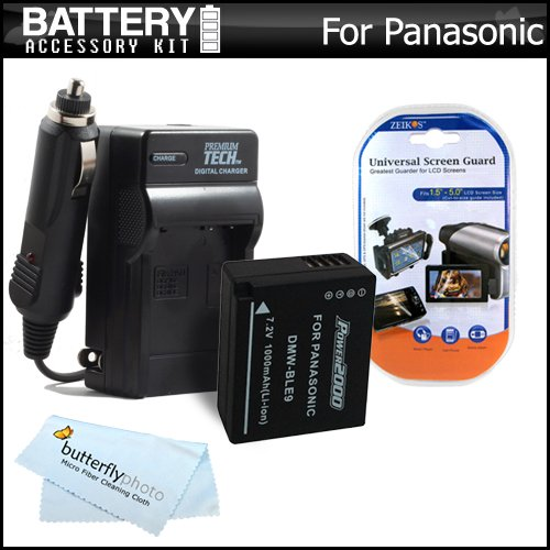 Battery And Charger Kit For Panasonic Lumix Dmc-Gf3, Dmc-Gf3K, Dmc-Gf5, Dmc-Gf5K, Dmc-Gf5W, Dmc-Gf5R Digital Camera Includes Extended (1000Mah) For Panasonic Dmw-Ble9 Battery + Ac/Dc Travel Charger + More (Will Display Remaining Time On Screen!!)