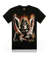 Halloween Squelette Noir Crane 3D Animal Imprimer T-Shirt Chemise En Coton a Manches Courtes