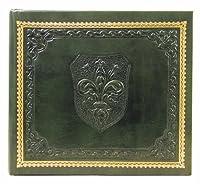 Medici Italian Leather Photo Album / Wedding Album / Scrapbook, Green Sheets, Embossed Art, 7.5