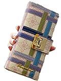 【habimode】 長財布 花柄 パスケース いちご かわいい レディース カードケースセット (チェック)