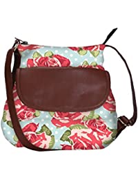 Snoogg Beautiful Seamless Rose Pattern With Blue Polka Dot Background Casual Spacious MultiPurpose Sling Bag Carry...