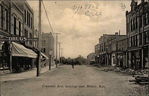 crescent-avenue-looking-east-souris-manitoba-canada-original-vintage-postcard