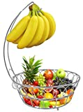 ESYLIFE Fruit Baskets Stand Wire Basket with Banana Hanger, Chrome Finish