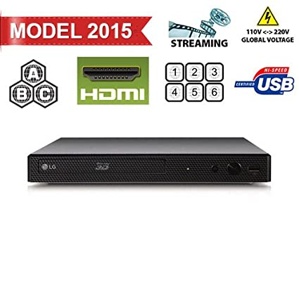 2015 LG Lecteur BP550 2D/3D - BD - DVD - CD -Wi-Fi MultiZone Region Code Free DVD 012345678 PAL/NTSC Blu Ray Zone A/B/C. DivX XviD AVI and MKV Playback and Support. 100~240V 50/60Hz World-Wide Use (Free 2 Meter HDMi Cable)
