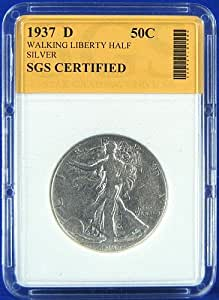 1937 D Silver Walking Liberty Half Dollar - Certified by SGS