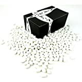 Classic White Jordan Almonds by Cuckoo Luckoo Confections, 2 lb Bag in a BlackTie Box