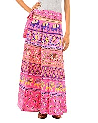 Fashiana Women's Elephant Print Cotton Long Wrap-around Skirt